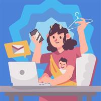 Work From Home Career Mother vector