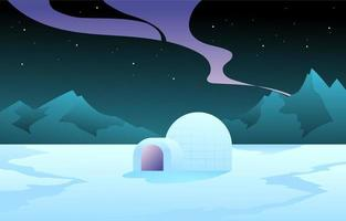 Winter Lanscape with Igloo Concept vector