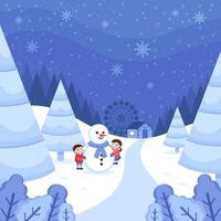Winter Wonderland Landscape with Children Playing Snow