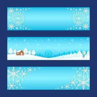 Gradient Blue Winter Wonderland Banner Set vector