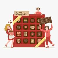 Chocolate Day Gift Box Concept vector