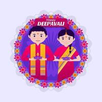 A Couple Celebrating Deepavali Festival vector