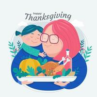 Mother and Child Celebrating Thanksgiving Day vector