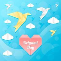 Beautiful Blue Sky with Origami Birds and Clouds vector
