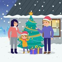 Families Gathered At Christmas vector