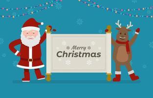 Santa and Reindeer Holding Christmas Greeting vector