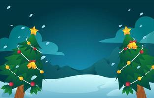 Christmas Tree Background on Snowy Field