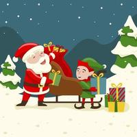 Santa  Prepare The Gift With Elf