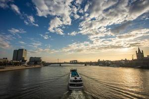 ship on the rhine river in cologne