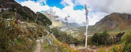 Thame village panorama view, Nepal.