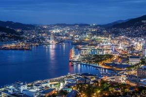 Night shot of Nagasaki city in Japan