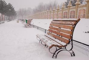 Fuertes nevadas en un parque en Bucarest.