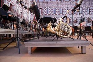 French horn over stage