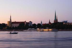Panorama of old Riga at dusk
