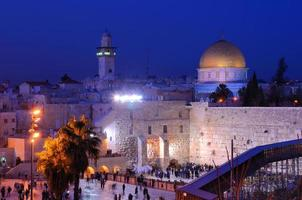 Nighttime view of Western Wall and Dome of the Rock