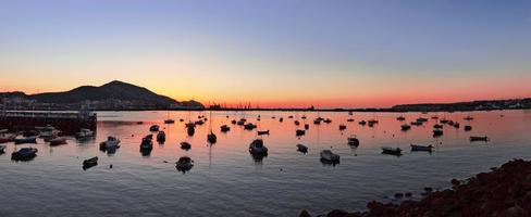getxo port at sunset with yatchs and sailboats photo