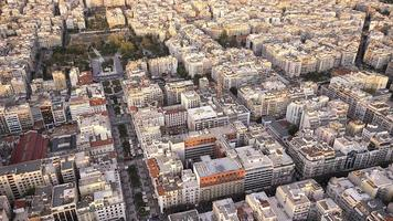 Aerial panoramic view of Thessaloniki shortly before sunset, Gre