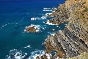 Atlantic ocean coast cliff at Sardao cape (Cabo Sardao), Alentej photo