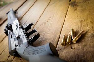 AK47 assault rifle with bullets photo