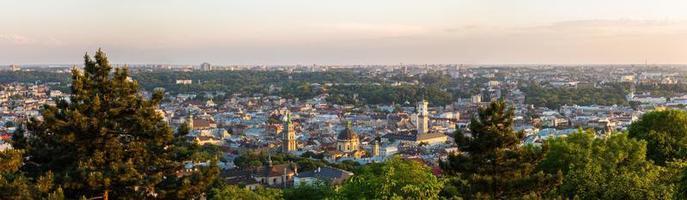 Panorama aerial view of Lviv, Ukraine photo