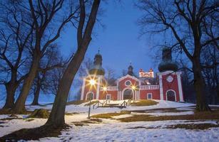 Banska Stiavnica - lower church of baroque calvary in winter photo