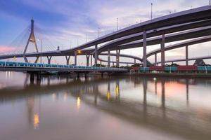 Twilight of Suspension bridge connect to Bangkok freeway photo
