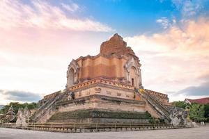 Ancient pagoda Wat Chedi Luang temple in Chiang Mai Thailand