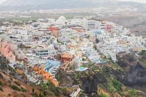 Thira, the capital of Santorini island photo