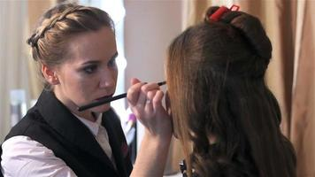 Makeup artist and stylist working on creating model style video