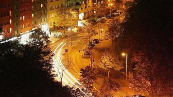City street night timelapse, long exposure traffic lights, car. Beautiful shot of Europe, culture and landscapes. Traveling sightseeing, tourist views landmarks of Germany. World travel, west European trip cityscape, outdoor shot