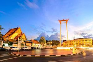 Giant Swing and Suthat temple at twilight in Bangkok, Thailand.