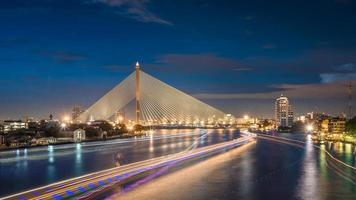 Rama 8 Bridge over the Chao Phraya River in Twilight