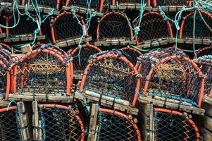 Stack of lobster pots Whitby photo