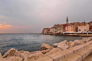Aerial shoot of Old town Rovinj at sunset, Istra region