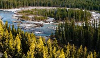 Confluence of Bow River Banff Golden Sunset photo