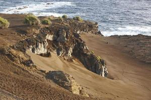 Azores volcanic coastline landscape in Faial island. Ponta dos C