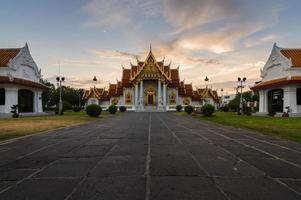 Thai Temple at sunset Wat Benchamabophit in Bangkok, Thailand