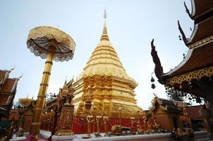 Golden pagoda wat Phra That Doi Suthep Thailand