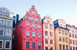 The famous buildings in the central square of Gamla Stan, Stockholm.