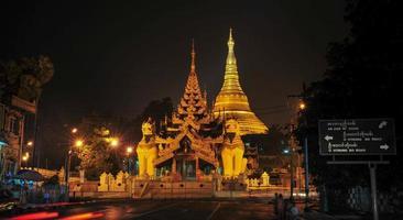 Shwedagon Paya pagoda illuminated in the evening