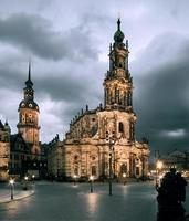 Hofkirche in Dresden illuminated