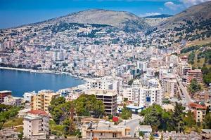Panoramic view on Saranda city, Albania.
