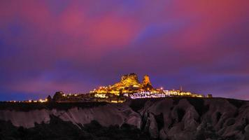 Uchisar Castle during twilight time , Cappadocia, Turkey