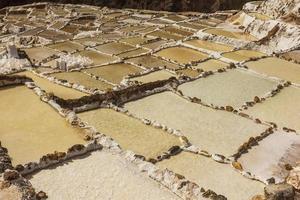 Maras salt mines peruvian Andes Cuzco Peru photo