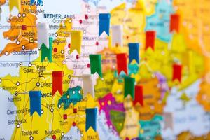 Colored flags on the map of Europe