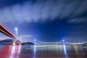 Ting Kau Bridge of Hong Kong at Night photo