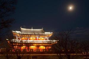 Night scenic of city gate and pavilion in ancient town.