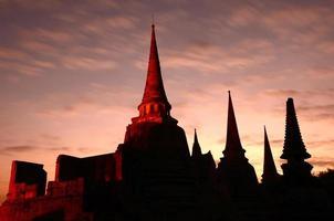 silhueta de wat phra sri sanphet, Tailândia