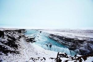 isla, cascada, eau, glace, hiver,