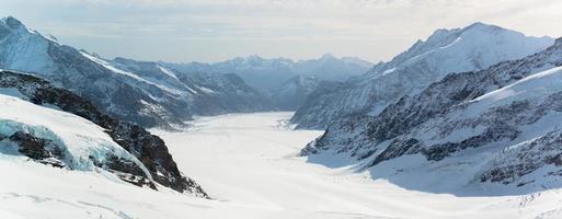 Panorama escénico del gran glaciar aletsch, región de jungfrau